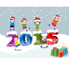 Merry christmas and Happy new year 2015 with happy vector