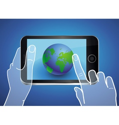 Mobile phone with globe icon on the screen vector