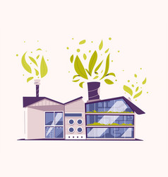 modern green eco factory building cartoon vector image