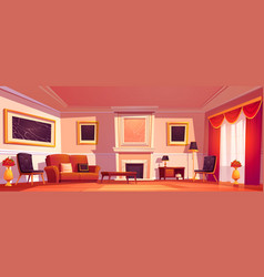 old luxury living room interior with fireplace vector image