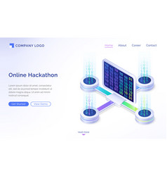 online hackathon isometric landing page banner vector image