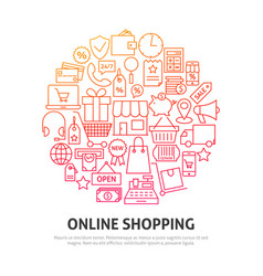 online shopping circle concept vector image