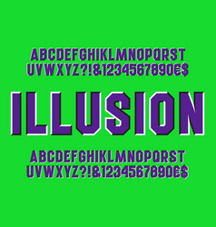Optical illusion alphabet sliding letters vector