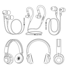 Outline earphones wireless and corded dj music vector