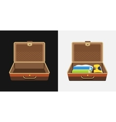 Packed and empty suitcases for summer holiday - vector