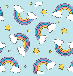 Pastel rainbow and stars seamless pattern on blue vector