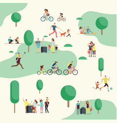 People groups on on bbq picnic happy families vector