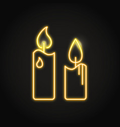 Pillar candles icon in neon line style vector
