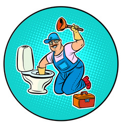 plumber cleans toilet vector image