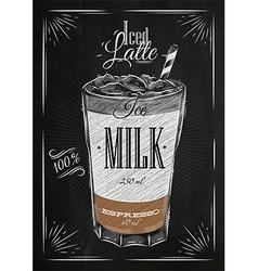 Poster iced latte chalk vector