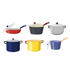 pots and pans with lids vector image
