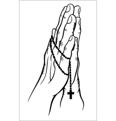 Praying with a Rosary vector image