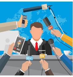 press conference concept news media journalism vector image