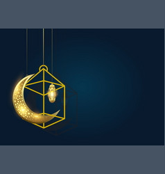 ramadan kareem background with moon and lantern vector image