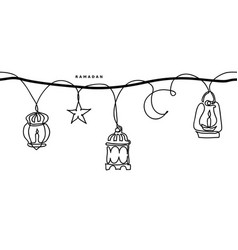 ramadan simple black and white seamless vector image