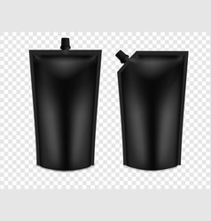 Realistic 3d black blank doy pack mock up set vector