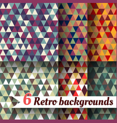retro backgrounds of triangles a set 6 items vector image