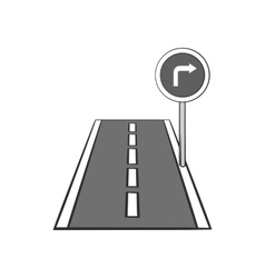 Road sign right turn icon black monochrome style vector