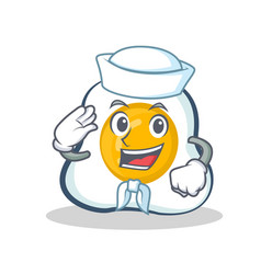 Sailor fried egg character cartoon vector