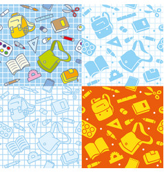 School seamless pattern with education supplies vector