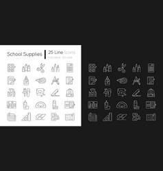 School supplies linear icons set for dark vector