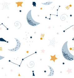 seamless childish pattern with starry sky moon vector image