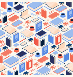 seamless pattern with isometric books and vector image