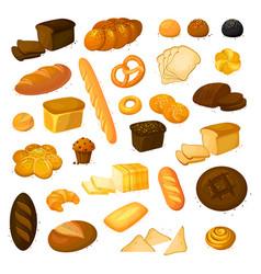 Set bread icons vector