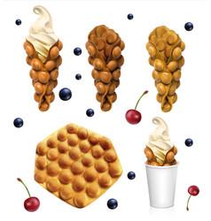 set hong kong waffles realistic vector image