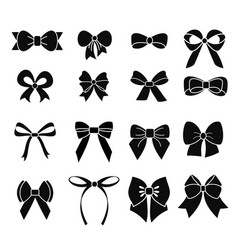 Set of black and white bows in vector