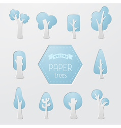 Set of paper tree icons vector image