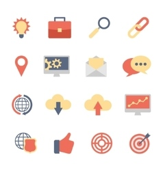 Set of SEO and Development flat icons vector
