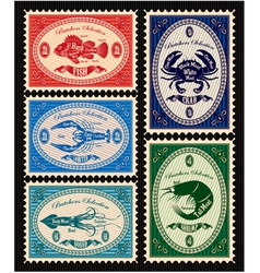 Set postage stamps with seafood vector