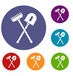 shovel and rake icons set vector image