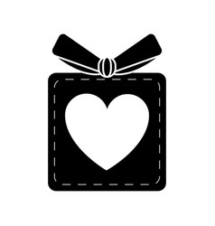 silhouette gift box heart love present vector image
