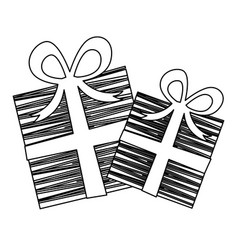 Silhouette set collection striped gift box with vector