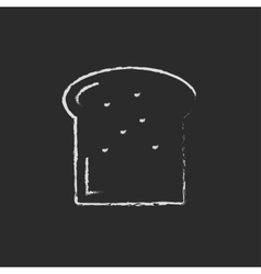 Single slice of bread icon drawn in chalk vector