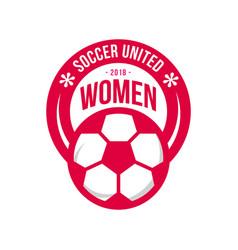 Soccer united women football club logo template vector