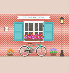 street building facade house with bicycle vector image