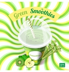 The concept of green smoothie with apple kiwi vector