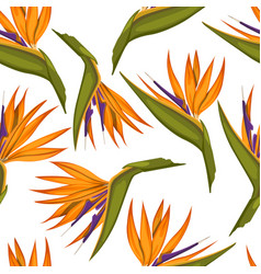 Tropical flowers seamless pattern fabric print vector