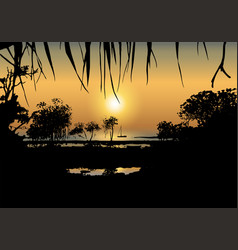 Tropical sunset on the sea shore vector