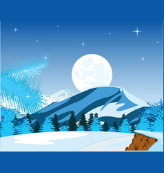 winter landscape of the mountains and wood in the vector image