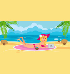 woman on beach with laptop vector image