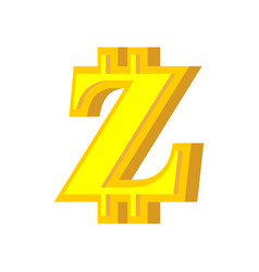 z letter bitcoin font cryptocurrency alphabet vector image