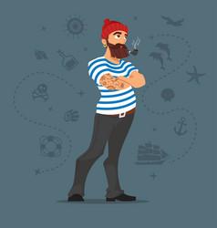 bearded sailor smoking pipe vector image