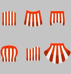 Canopy awning striped store set vector image vector image