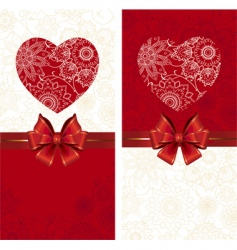 celebrate bow background with heart vector image vector image