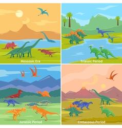 Dinosaurs 2x2 Design Concept vector image