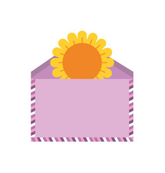 envelope with cute sunflower isolated icon vector image
